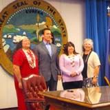 Cheryl Seidner, Tribal Chair, Governor Schwarzenegger, Gail Green, Councilperson, Leona Wilkinson