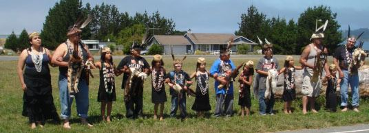 Brush Dance demonstration group with cultural advisor