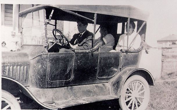 Albert Jessie and Mother in an old car